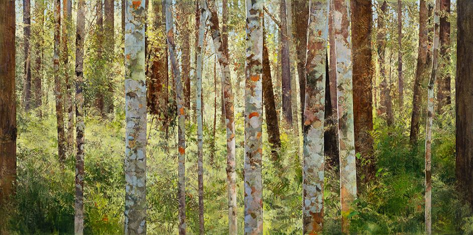A.J. Taylor, Pink Ash Forest (2020). Oil on board, 122 x 244 cm. Courtesy Martin Browne Contemporary.