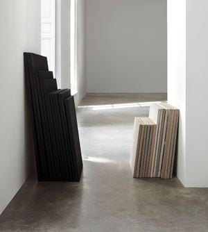 "de-finition/method obstacles and defenses, theme 53 of 'from stack to stack' / dé-finition/méthode ""obstacles et défenses, thème 53 de 'de pile en pile'"" by Claude Rutault contemporary artwork"