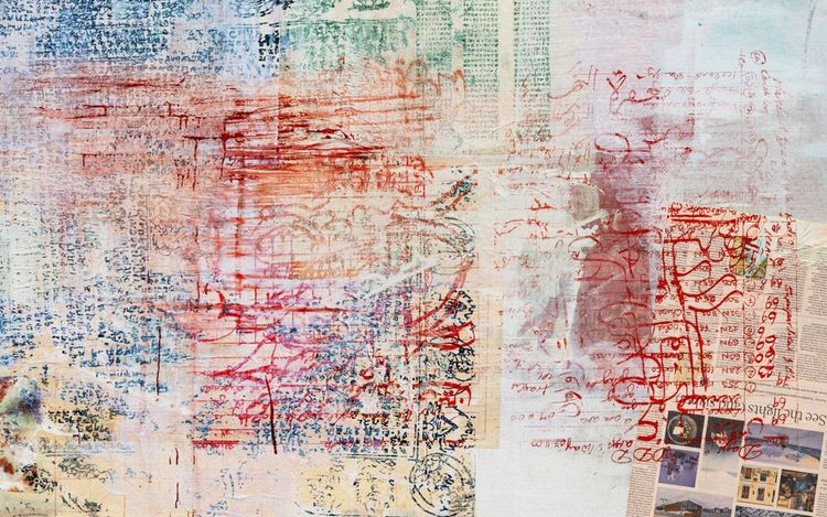 Mandy El-Sayegh, transliterated cut script (2021) (detail).Oil and mixed media on silkscreened linen. 146 x 156 cm. Courtesy Lehmann Maupin. Photo: Damian Griffiths.