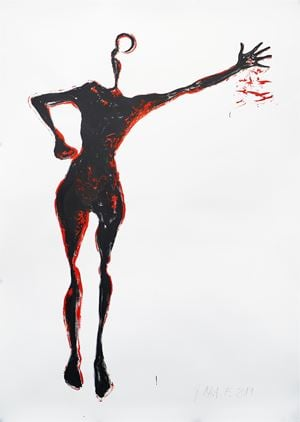 Filled Outline - I bleed too. Crime Scene series by Jane McAdam Freud contemporary artwork