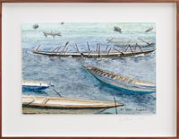 Postcards from Africa: Piroguiers – Dakar by Sue Williamson contemporary artwork works on paper