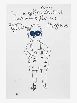 Swimsuit with Pink Flowers by Rose Wylie contemporary artwork painting, works on paper