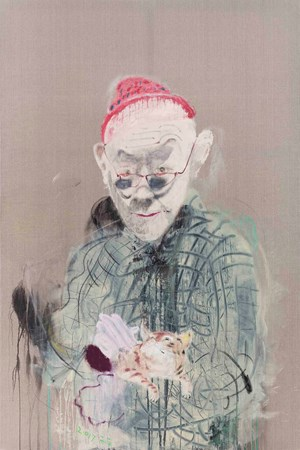 Self-portrait holding a cat by Wang Yuping contemporary artwork