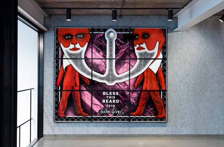 Exhibition view: Gilbert & George, THE BEARD PICTURES, Lehmann Maupin, Seoul (10 January–16 March 2019). Courtesy the artist and Lehmann Maupin, New York, Hong Kong, and Seoul.