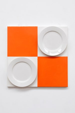 Untitled (Orange with Ceramic Plate) by John Nixon contemporary artwork