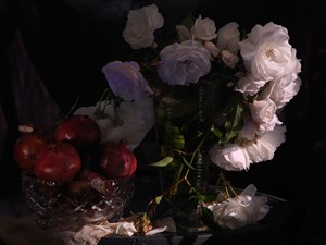 Still Life with Wild White Roses, Photographic Beaker and Pomegranates in a cut Crystal Bowl by Fiona Pardington contemporary artwork