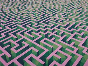 Maze Green & Pink Purple by Xu Qu contemporary artwork