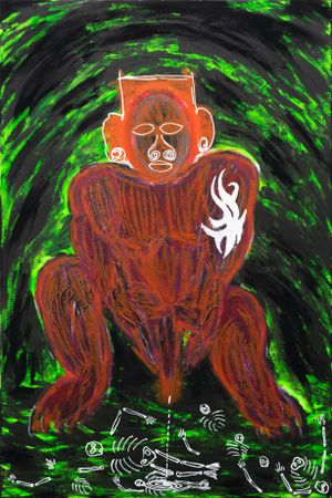 Tribesman Pissing on Dead Opps by Chen Pin Tao contemporary artwork painting