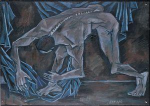 Bent Body and Blue Cloth by Mao Xuhui contemporary artwork
