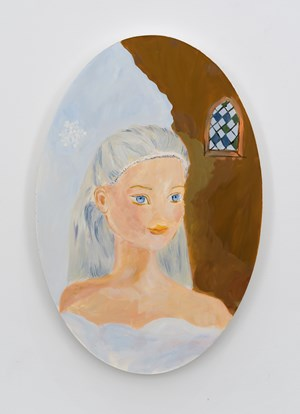Cinderella at Rapunzel's castle in her snowy cloud outfit by Karen Kilimnik contemporary artwork