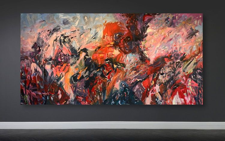James Verbicky, Endorphin 1 (2020). Oil, acrylic, and charcoal on canvas. 221 x 457 cm. Courtesy Maddox Gallery.