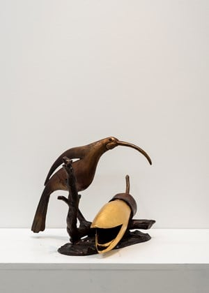 Huia with Fallen Kowhai by Paul Dibble contemporary artwork
