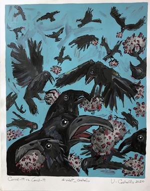 Corvid vs Covid19 by Violet Costello contemporary artwork