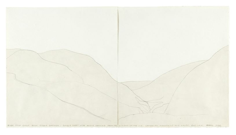 Bob Law, River Avon Gorge, 1966. Pencil and collage on paper. Courtesy of the Estate of Bob Law.