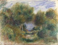 Sortie du bois, mer au fond by Pierre-Auguste Renoir contemporary artwork painting