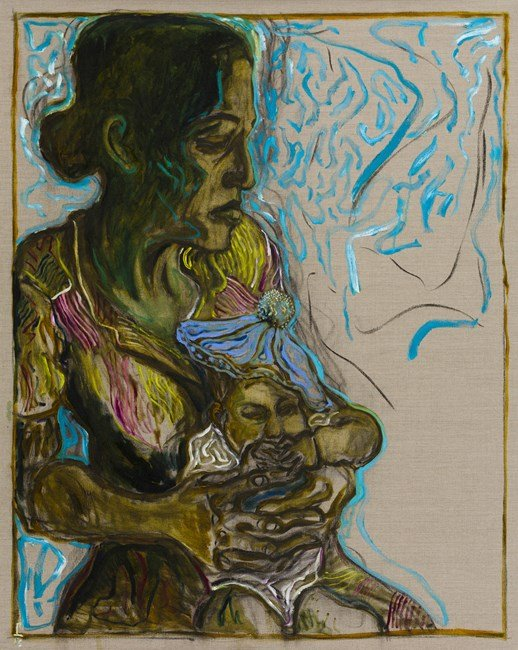 baby in blue tam by Billy Childish contemporary artwork