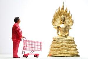 Pink Man Meets Lord Buddha by Manit Sriwanichpoom contemporary artwork