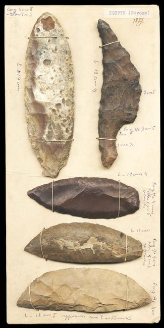 Board with 5 flint blades by Egyptian contemporary artwork