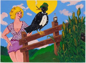 Old Crow on the Fence by Robert Colescott contemporary artwork