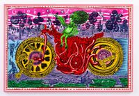 Selfie with Political Causes (woodcut) by Grayson Perry contemporary artwork print
