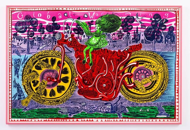 Selfie with Political Causes (woodcut) by Grayson Perry contemporary artwork