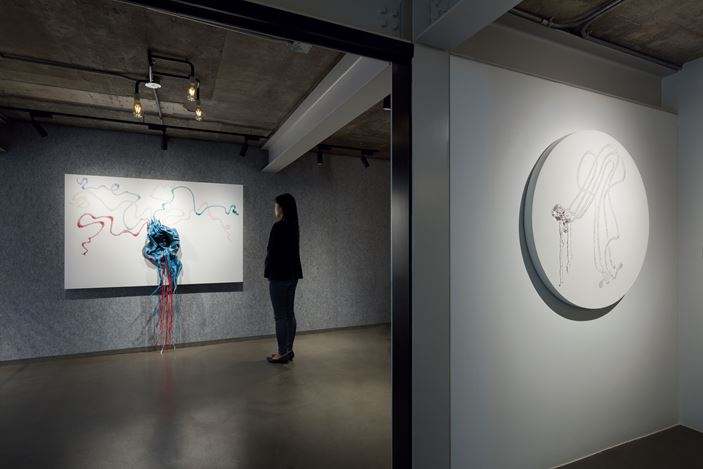 Exhibition view: Nicholas Hlobo, Lehmann Maupin, Seoul (21 March–18 May 2019). Courtesy the artist and Lehmann Maupin, New York, Hong Kong, and Seoul. Photo: OnArt Studio.