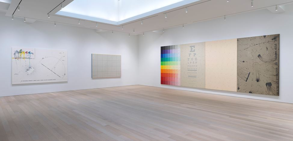 Exhibition view: Arakawa, Diagrams for the Imagination, Gagosian, 980 Madison Avenue New York (5 March–13 April 2019). © Estate of Madeline Gins. Reproduced with permission of the Estate of Madeline Gins. Courtesy Gagosian. Photo: Rob McKeever.