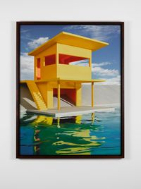 Bright Yellow House on Water by James Casebere contemporary artwork photography