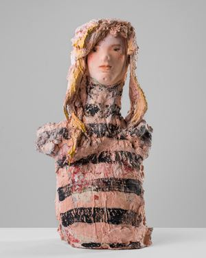 Woman with striped top by Linda Marrinon contemporary artwork sculpture
