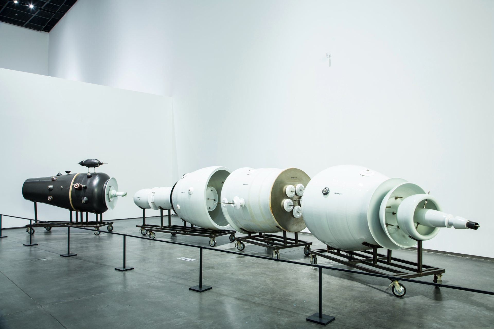 A sculpture installation of engine parts by artist Liu Wei shown as part of the Yinchuan Biennale