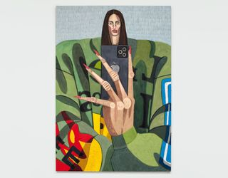 Julian Pace, Kendall (2021). Oil and acrylic on canvas.233.68 cm x 162.56 cm. Courtesy Simchowitz.