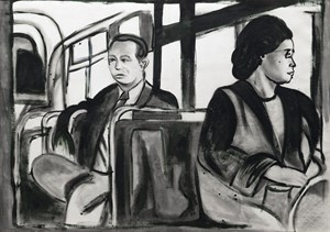Rosa Parks in the Bus by Barthélémy Toguo contemporary artwork