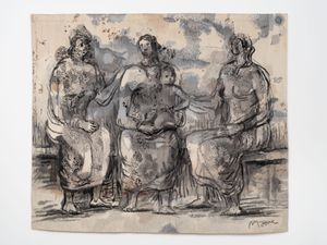 Three Seated Women with One Child by Henry Moore contemporary artwork