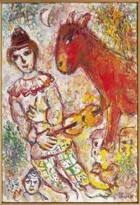 Le Clown violoniste et l'âne Rouge by Marc Chagall contemporary artwork painting
