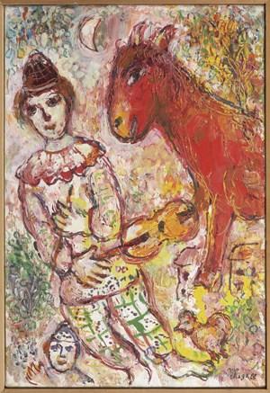 Le Clown violoniste et l'âne Rouge by Marc Chagall contemporary artwork