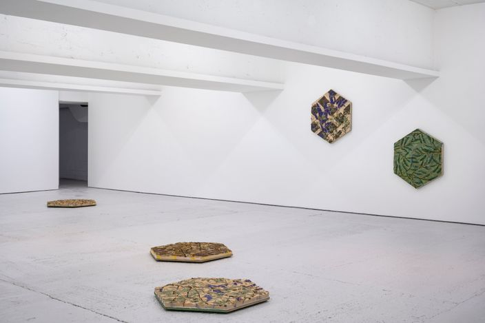 Exhibition view:Tue Greenfort, PULLING WEEDS. HORTICULTURAL RESISTANCE IN CLAY CONTINUED, KÖNIG, London (4 June–24 July 2021). Courtesy KÖNIG. Photo: Damian Griffiths.