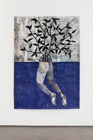 En mar abierto, lejos de la tierra, en este lejano exterior salado naufragó mi cuerpo pero nunca fallecio by Felipe Baeza contemporary artwork works on paper