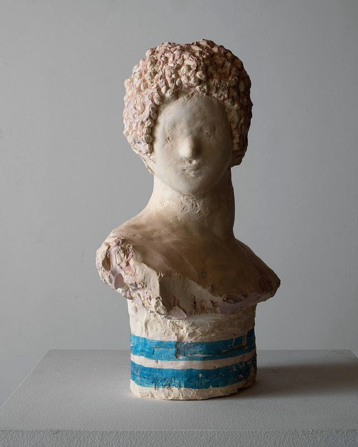 Bust with blue stripes by Linda Marrinon contemporary artwork