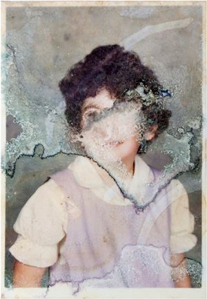Pitcairn Girl, Destroyed (found photograph) by Rhiannon Adam contemporary artwork