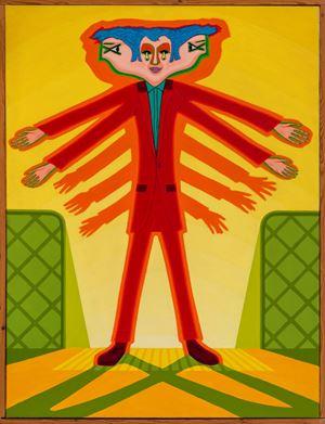 Escalator - men with arms by Christopher Battye contemporary artwork
