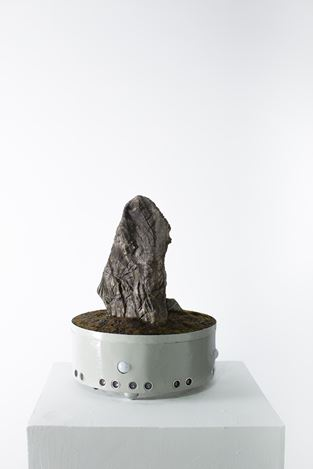 Tuan Mami, Mountain No.4, (2018). Soil, rock, moss, automatic motion sensor, 40×40cm. Photo courtesy of the artist