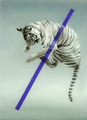 Tiger with data points by Sam Leach contemporary artwork