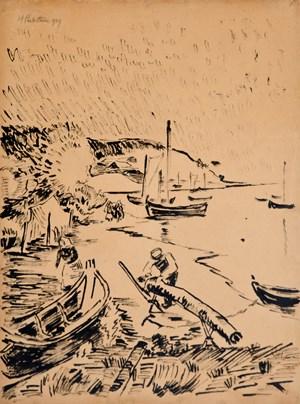 Boote am Strand by Hermann Max Pechstein contemporary artwork