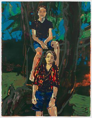 Zino and Enea (blue) by Claire Tabouret contemporary artwork