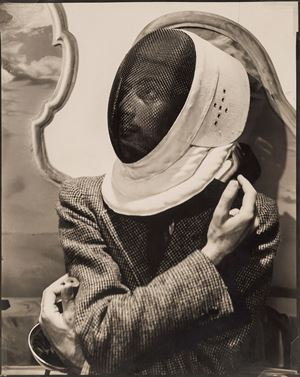 Salvador Dali in Fencers Mask by Cecil Beaton contemporary artwork