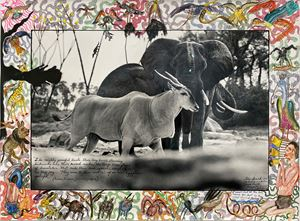 Elephant and Eland by Peter Beard contemporary artwork