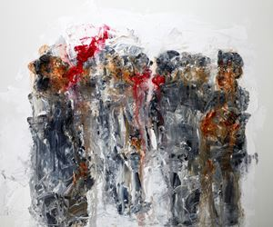 Three brow fire among crowd by Chen Ping contemporary artwork