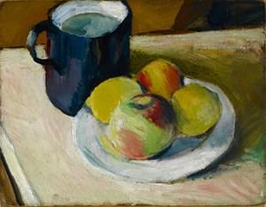 Milchkrug und Äpfel auf Teller (verso: Haus in Tegernsee, Zwiebel) by August Macke contemporary artwork