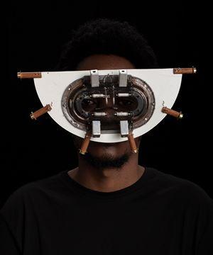Macho Nne Sura Nyeusi (white face) by Cyrus Kabiru contemporary artwork