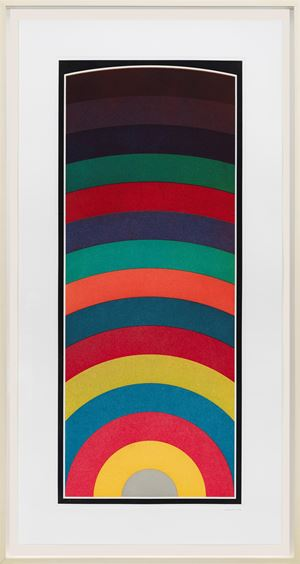 Fifteen Equal Arcs From The Midpoint of the Bottom, with All One-, Two-, Three- and Four-Part Combinations of Four Colors by Sol LeWitt contemporary artwork